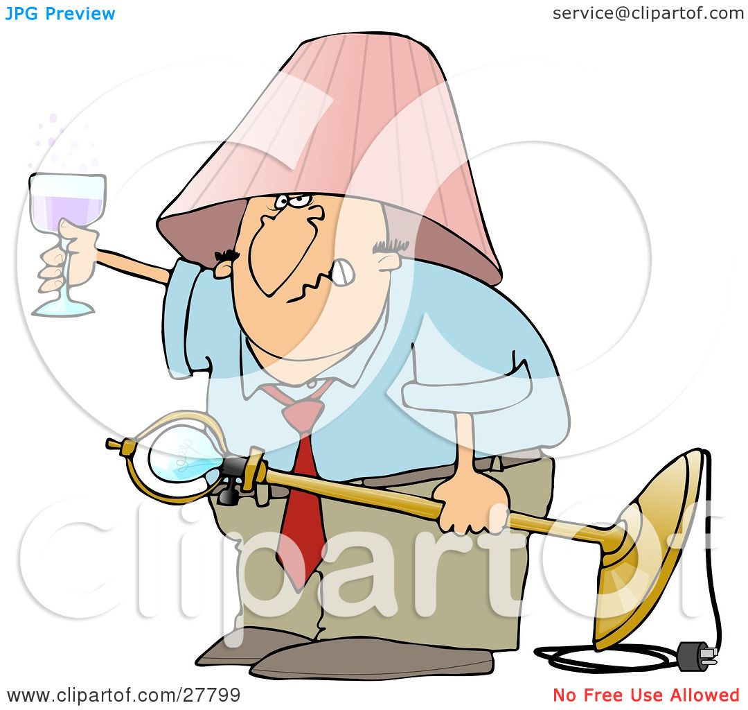 Clipart Illustration Of A Snarling Drunk White Man With Pink Lamp Shade On His Head Holding Light Fixture In One Hand And Glass Wine The Other