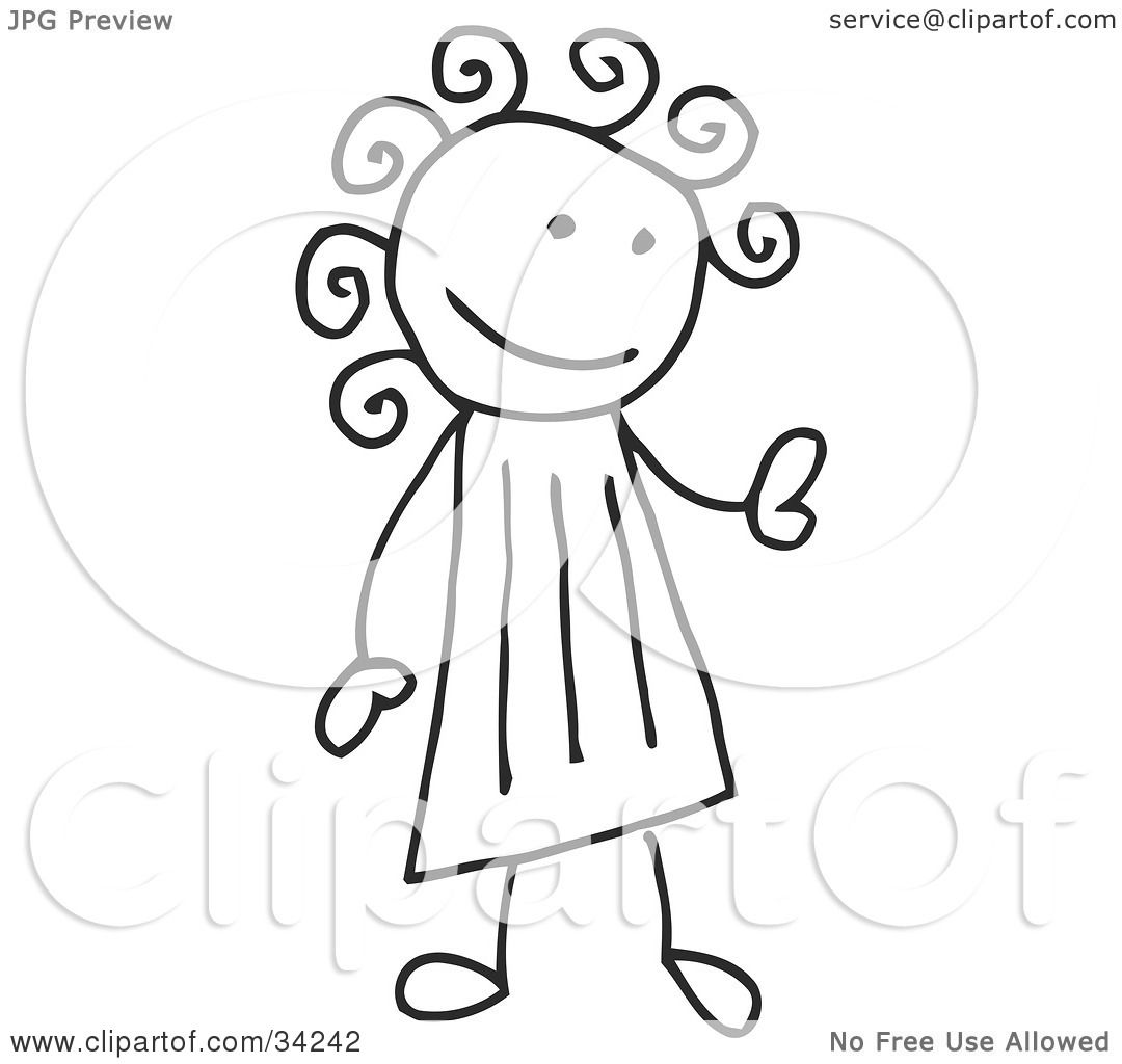 clipart illustration of a stick girl with curly hair by c