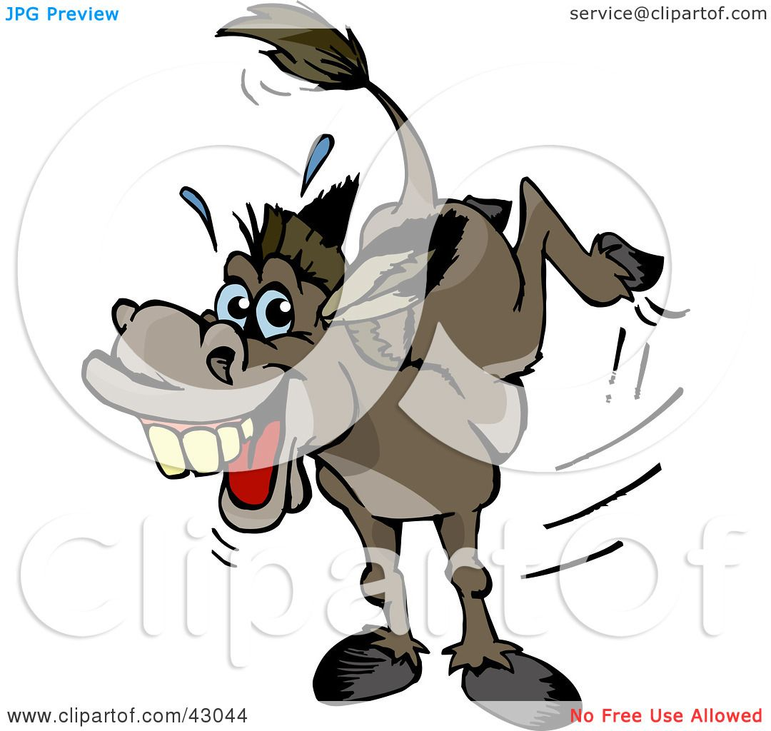 Donkey Kick Clipart Stubborn Kicking Donkey by