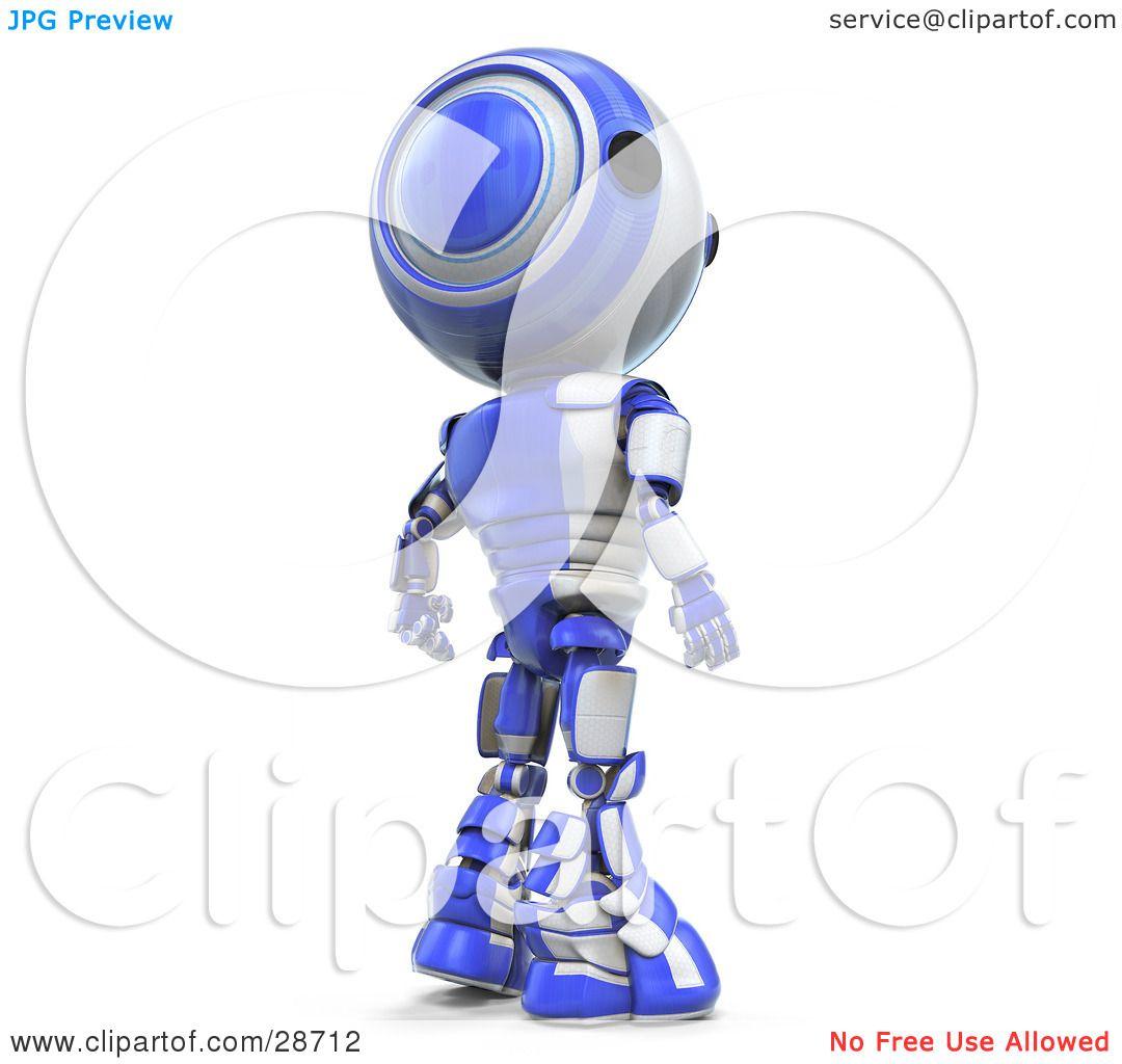 Clipart Illustration Of A Suspicious Blue Ao Maru Robot