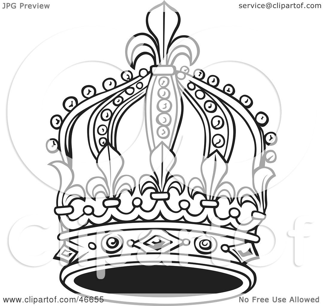 Royalty Free Clipart Picture Of A Tall Black And White King Crown On