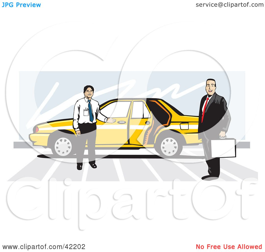 Clipart Illustration of a Taxi Driver By His Yellow Car Holding The Door Open For A Businessman by David Rey  sc 1 st  Clipart Of & Clipart Illustration of a Taxi Driver By His Yellow Car Holding The ...