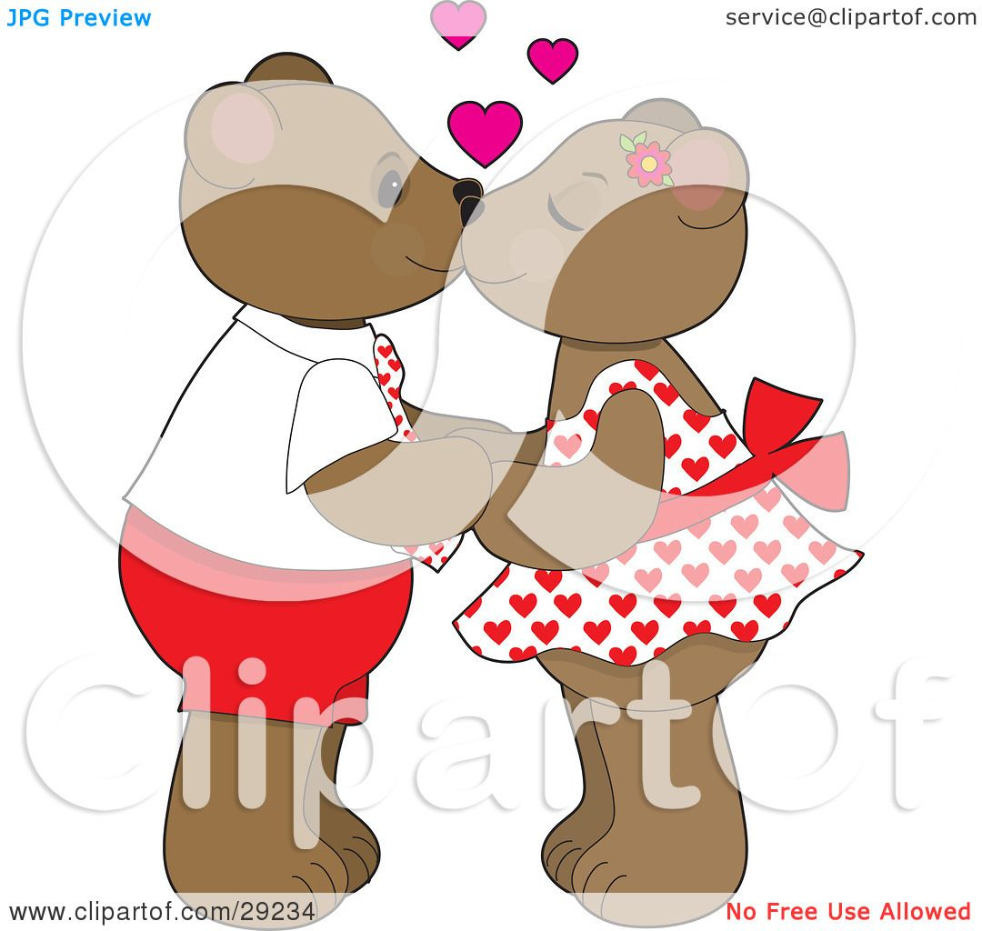 Clipart Illustration of a Teddy Bear Couple Holding Hands ...