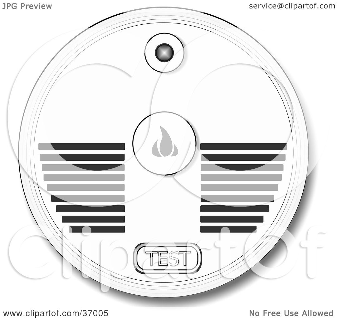 clipart illustration of a test button and speakers on a smoke alarm by djart  37005
