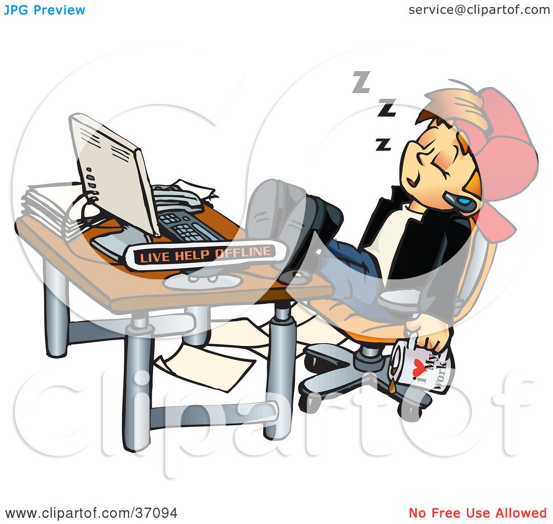 Clipart Illustration of a Tired Young Man With A Cup Of ...