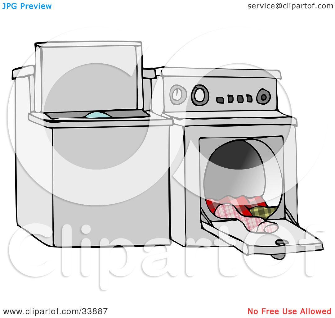 Clothes Dryer Clip Art ~ Clipart illustration of a top loading washing machine and