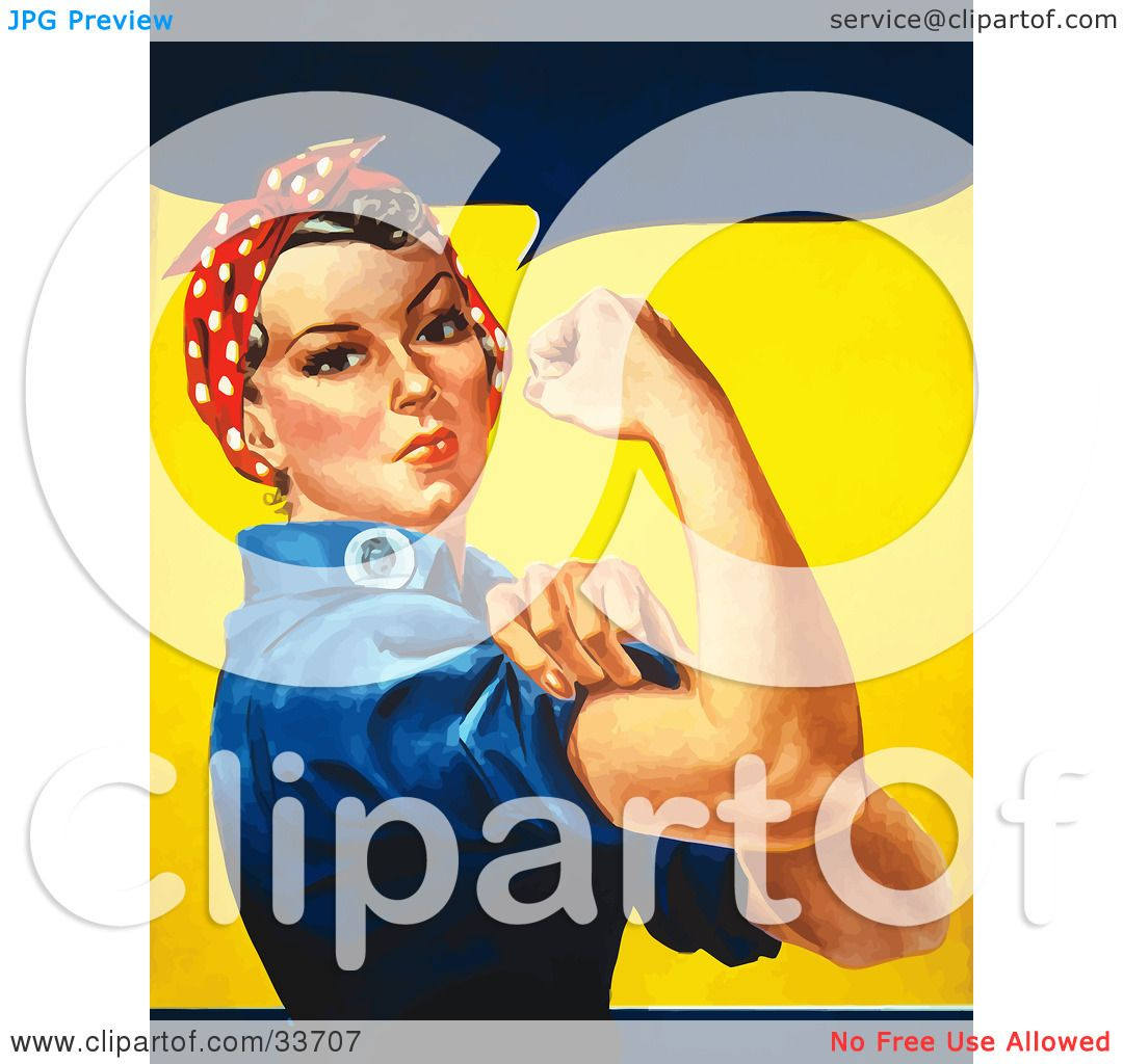 Clipart Illustration of a Tough Woman In A Bandana