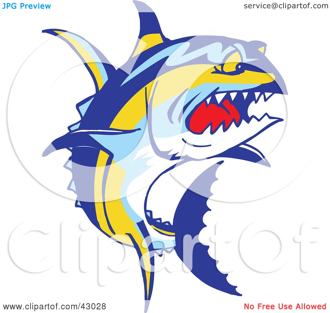 Clipart Illustration of a Tough Yellowfin Tuna Fish (Thunnus ...