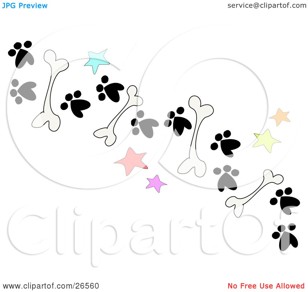 Clipart Illustration of a Trail Of Dog Bones, Stars And Paw Prints ...