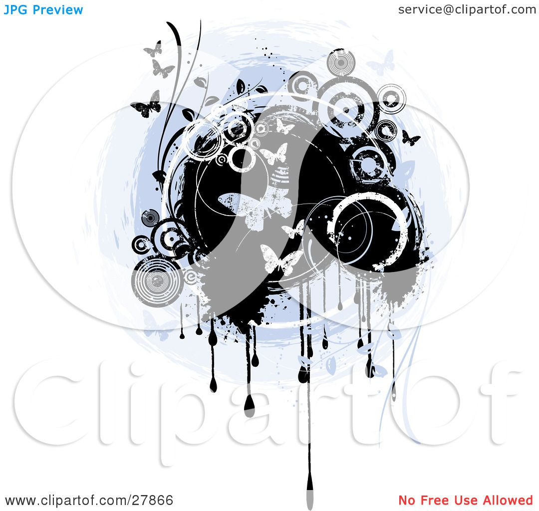 Background image vertical center - Clipart Illustration Of A Vertical Grunge Background Of Butterflies And Circles Over A Blue And Black Center With Drips Over White By Kj Pargeter
