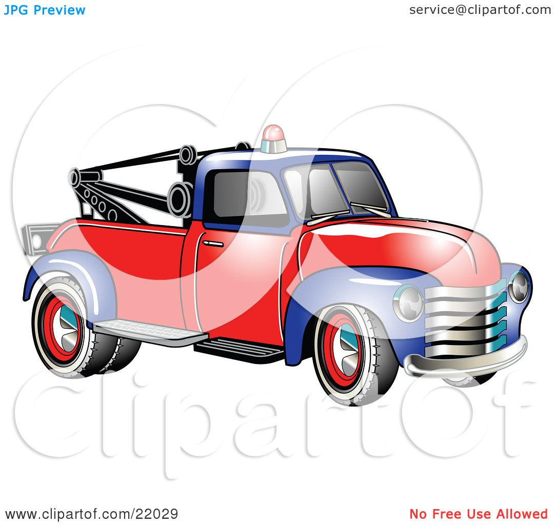 clipart illustration of a vintage blue and red 1953 chevy tow truck with a light on top of the