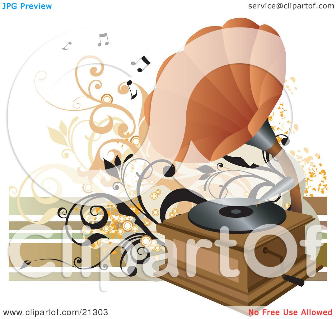 Clipart Illustration of a Vintage Phonograph With An Orange Cone ...