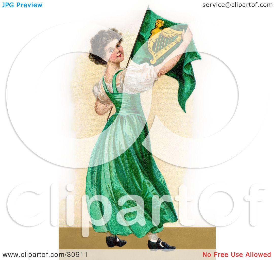 clipart illustration of a vintage victorian st patrick u0027s day scene