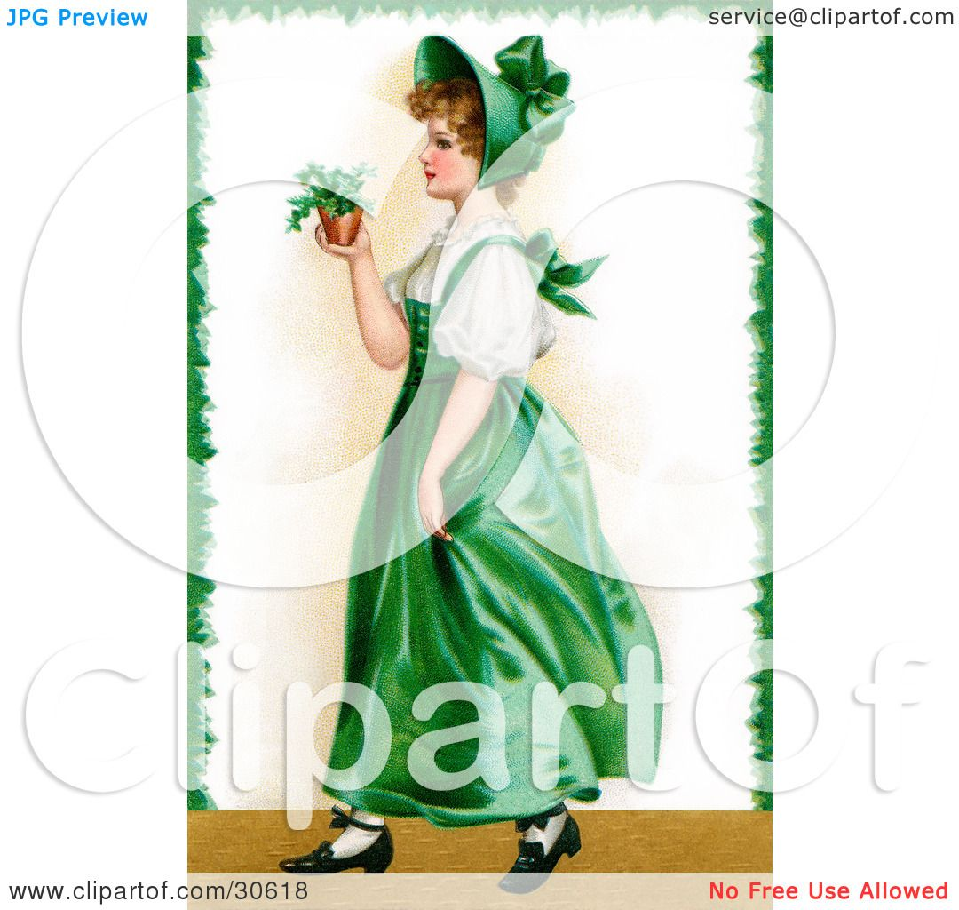 Clipart Illustration Of A Vintage Victorian St Patricks Day Scene Young Irish Lady In Green Dress And Bonnet Carrying Small Plant Circa 1907 By