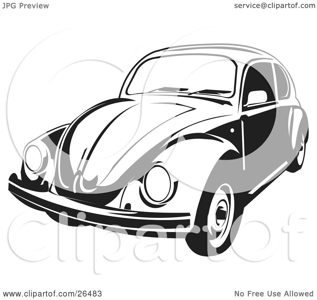 Clipart Illustration of a Volkswagen Beetle Car In Black And White ...