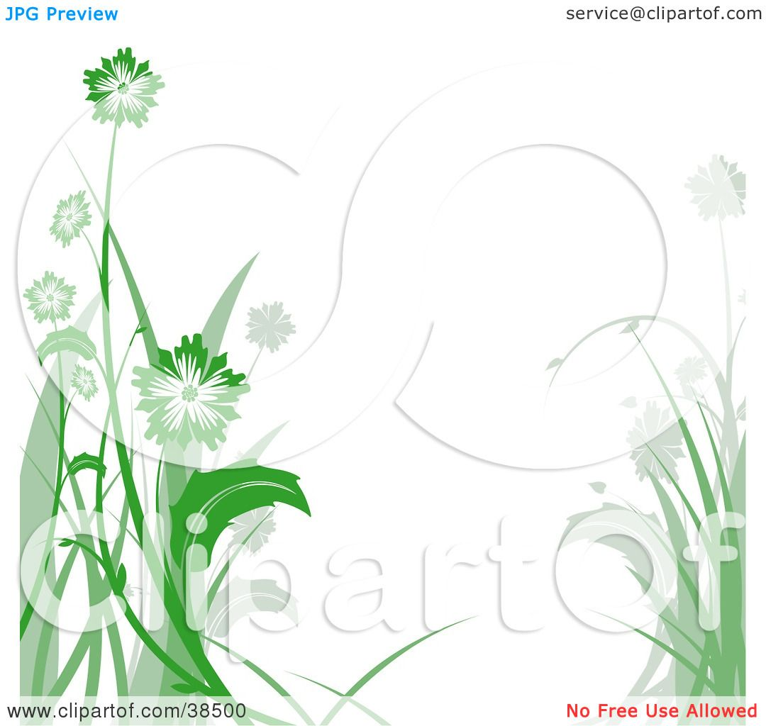 Clipart Illustration Of A White Background Bordered In Green And