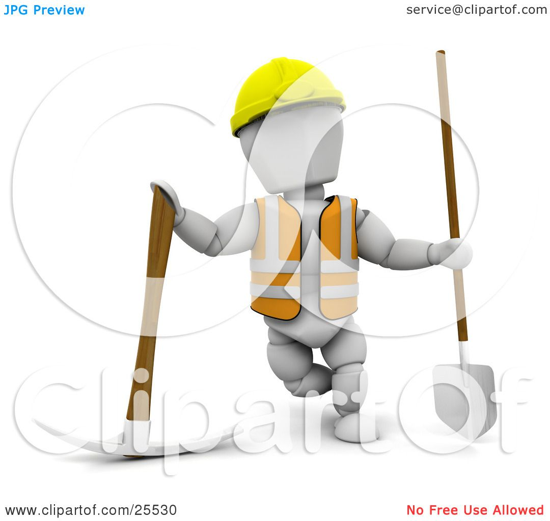 Clipart Illustration Of A White Character Construction Worker Wearing Hard Hat And Vest Standing With Pickaxe Shovel By KJ Pargeter