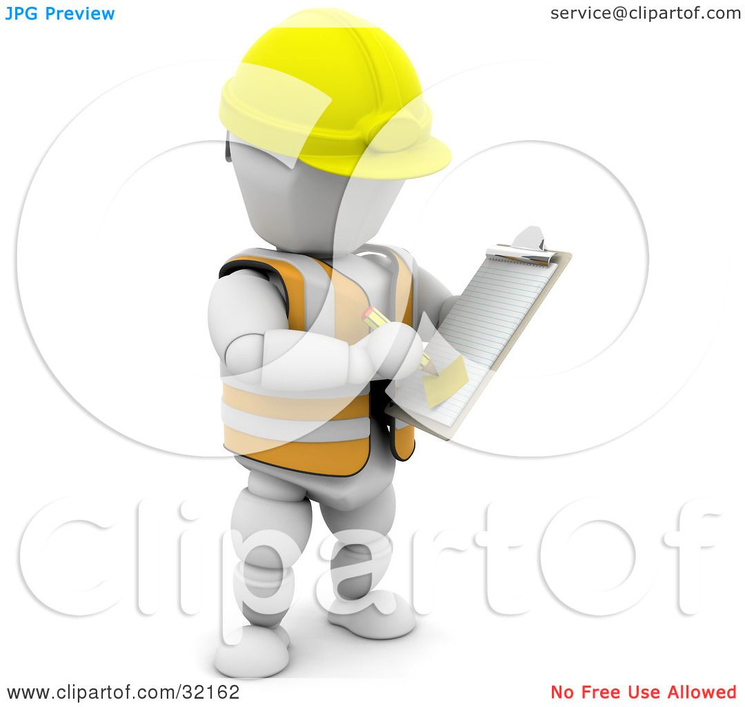 Clipart Illustration Of A White Character In Hardhat And Vest Taking Notes On Clipboard Construction Zone By KJ Pargeter