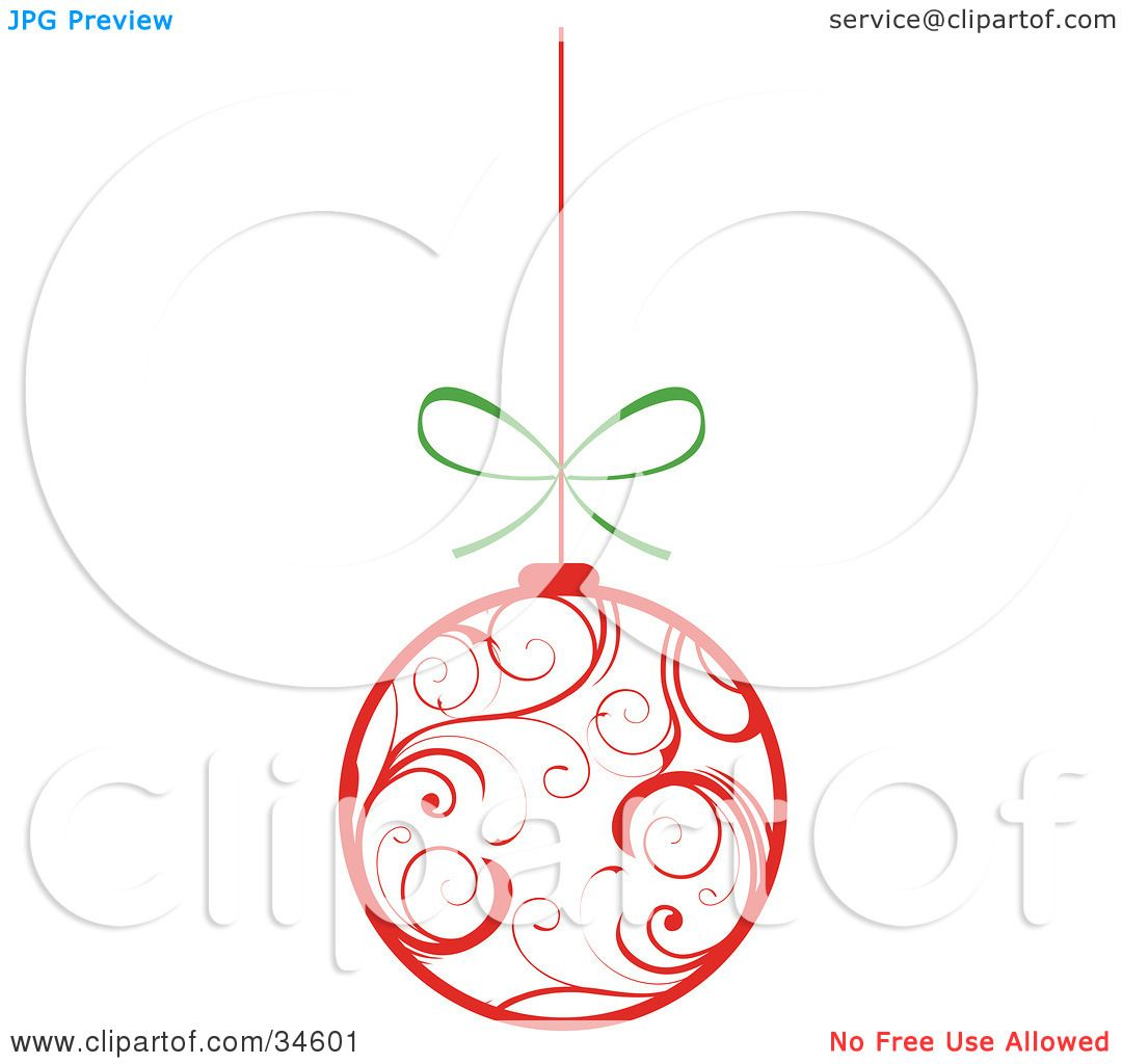 Clipart Illustration of a White Christmas Ornament With Red Swirl G4BEI2e6