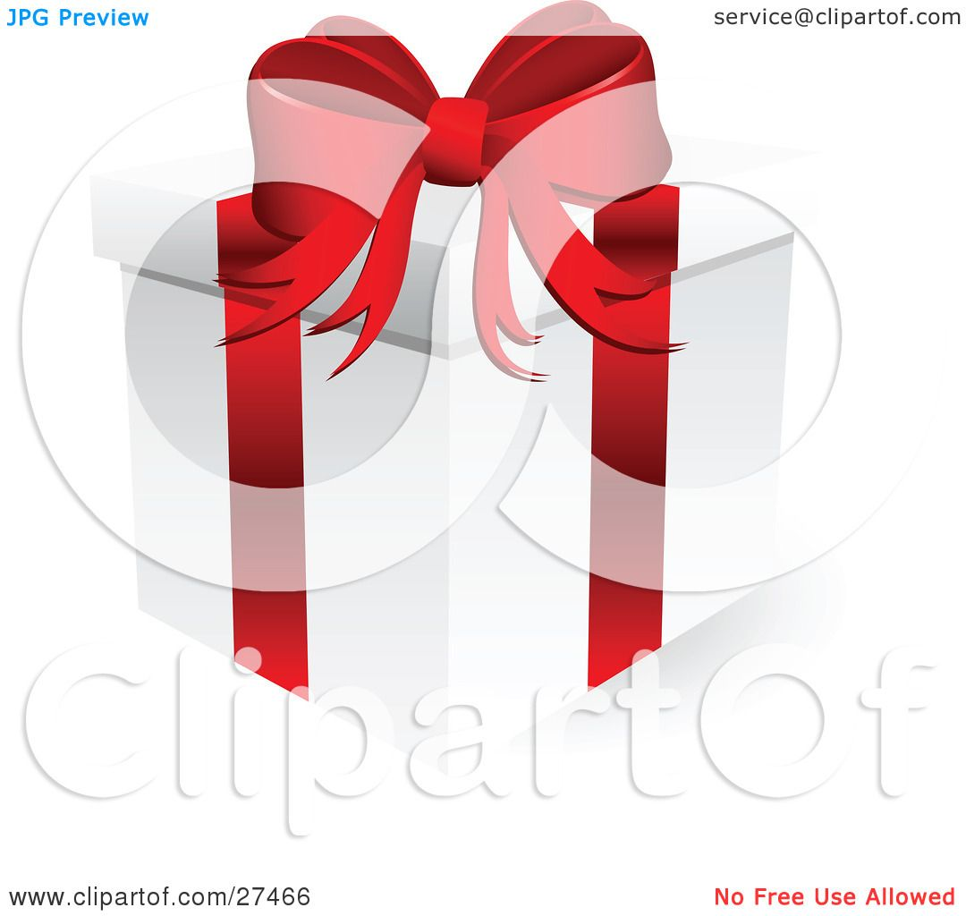 Clipart Illustration of a White Christmas Present Box Wrapped With A ...