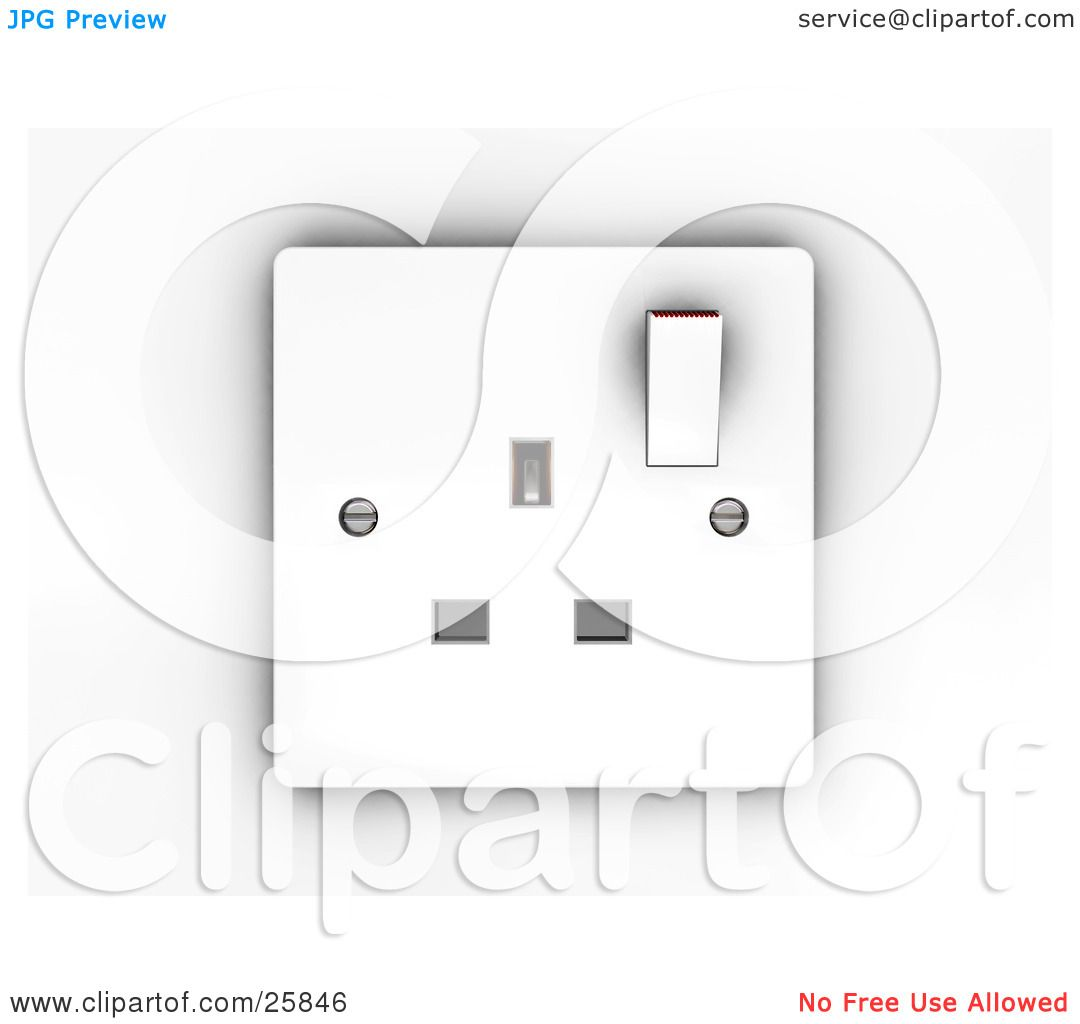 Clipart Illustration Of A White Electrical Three Pin
