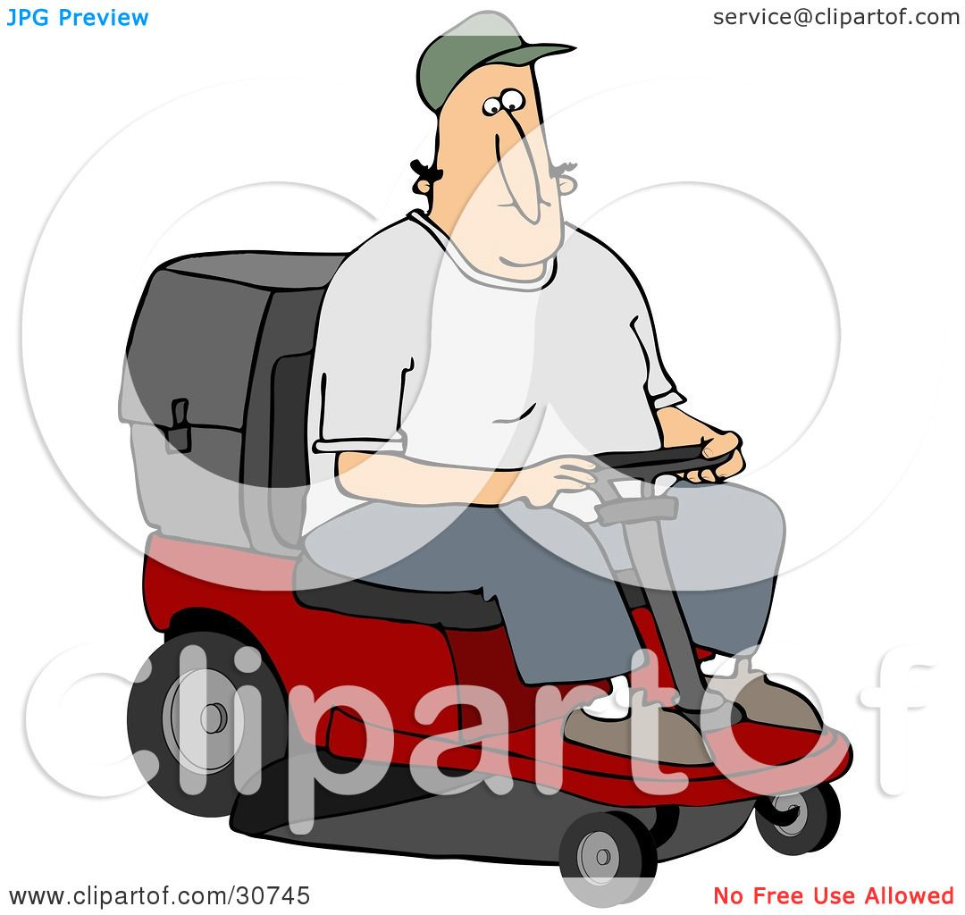 Clipart Illustration Of A White Man Operating A Red Riding