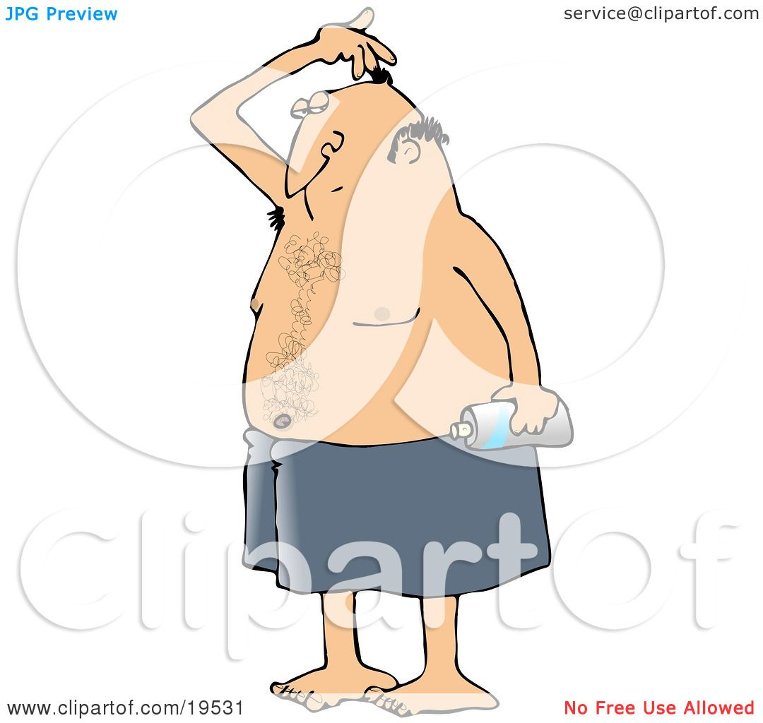 Clipart Illustration of a White Man Wrapped In A Towel, Sniffing His ...