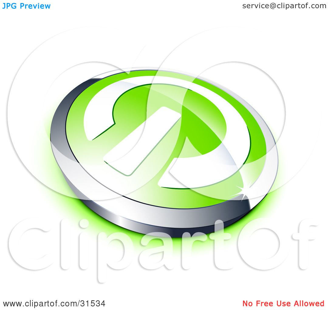 Clipart Illustration of a White Power Symbol On A Green Electronics ...