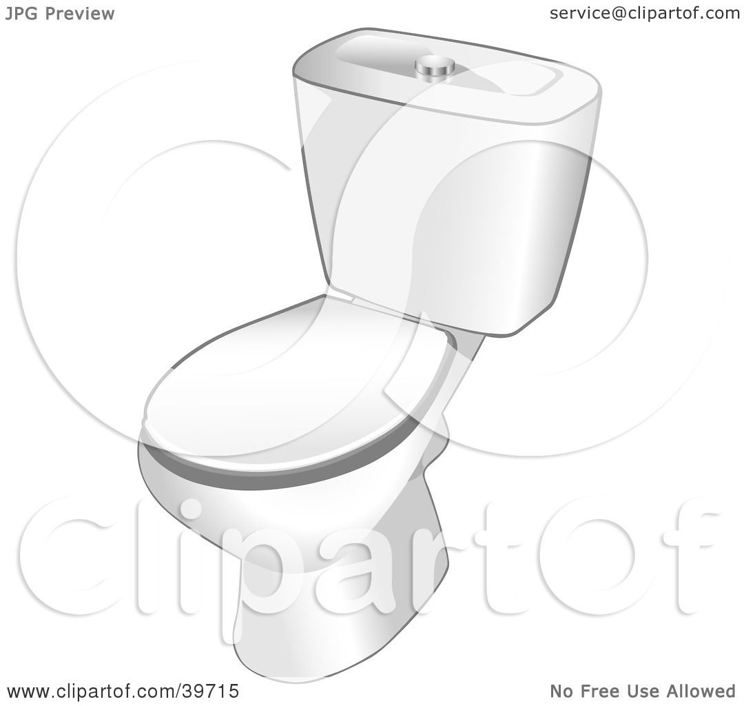 Bathroom clipart black and white - Clipart Illustration Of A White Toilet In A Bathroom By Dero