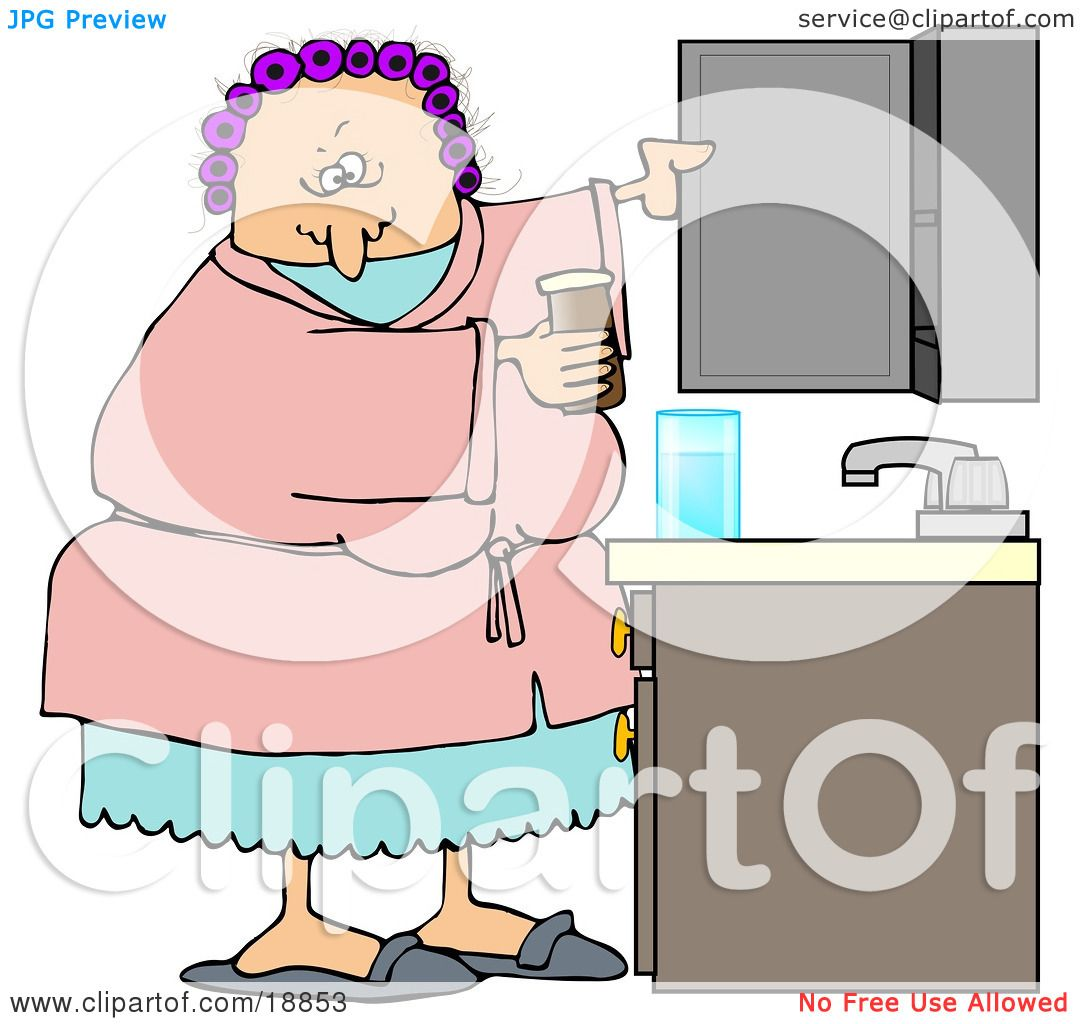 Bathroom Cabinet Clip Art: Clipart Illustration Of A White Woman With Her Hair In