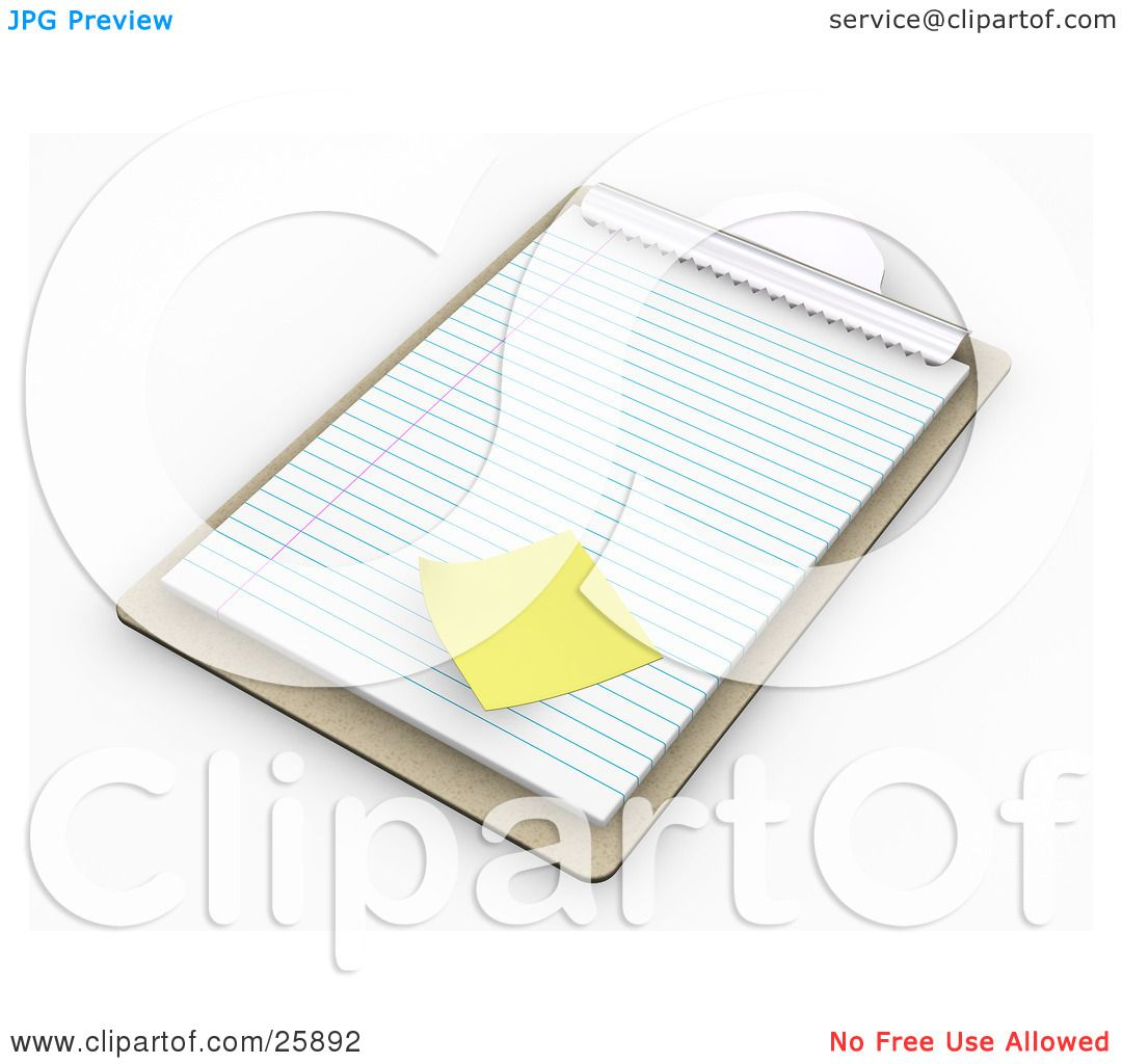 Clipart Illustration of a Wooden Clipboard With Lined Sheets Of ...