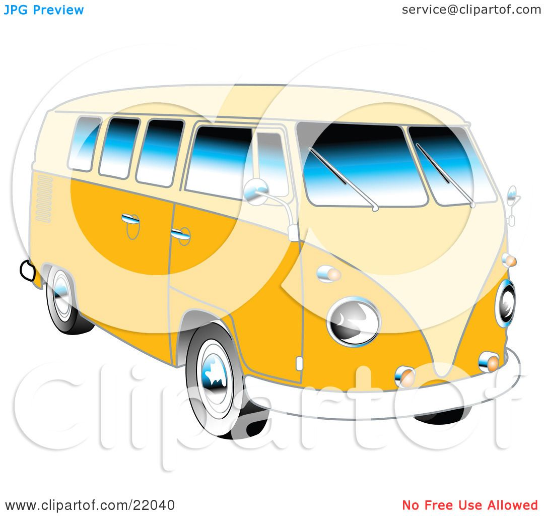 clipart illustration of a yellow 1962 vw bus with chrome detail and rh clipartof com vw bus clip art free vw bus clipart free