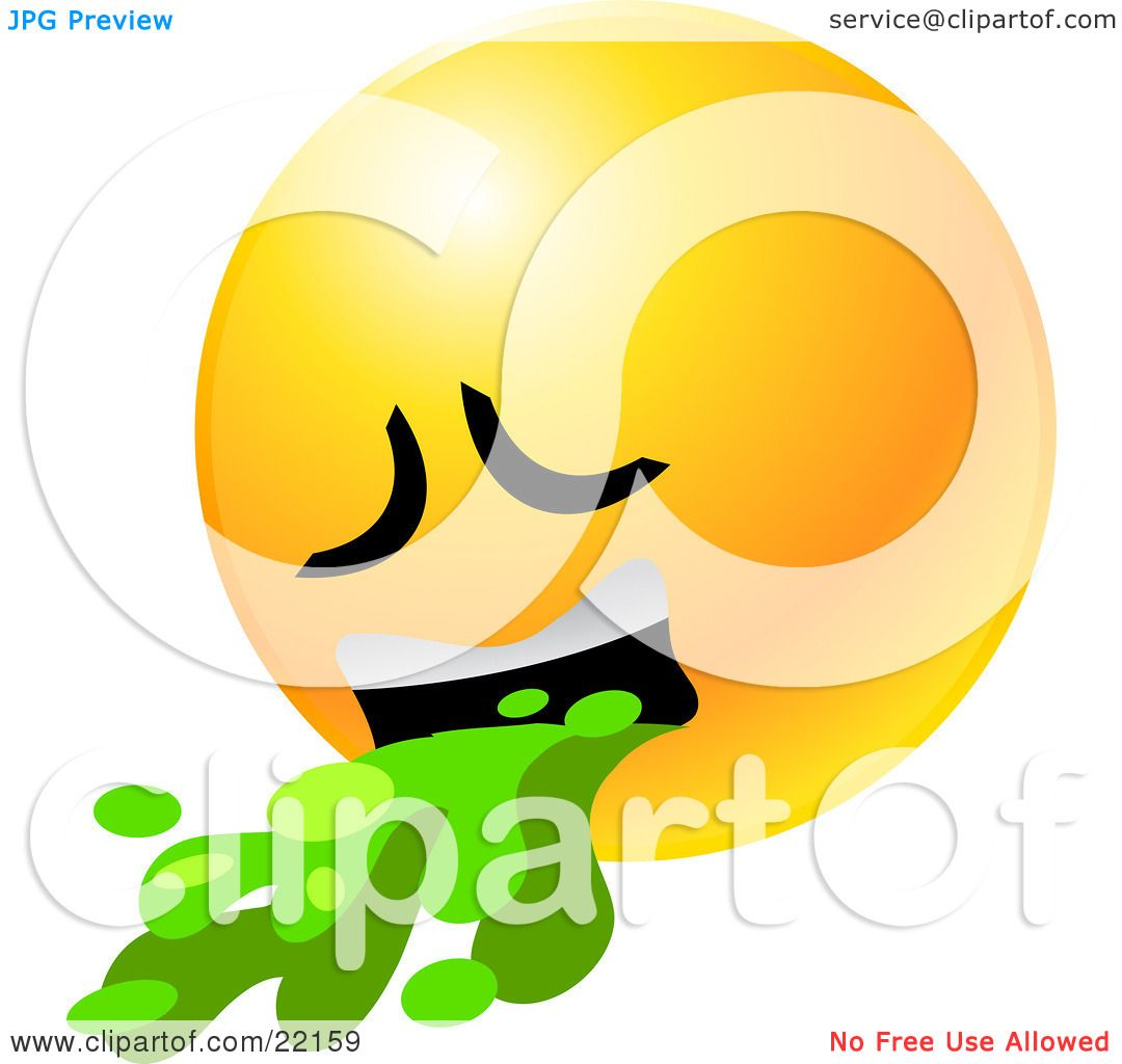 Clipart Illustration of a Yellow Emoticon Face Puking Up Green ...
