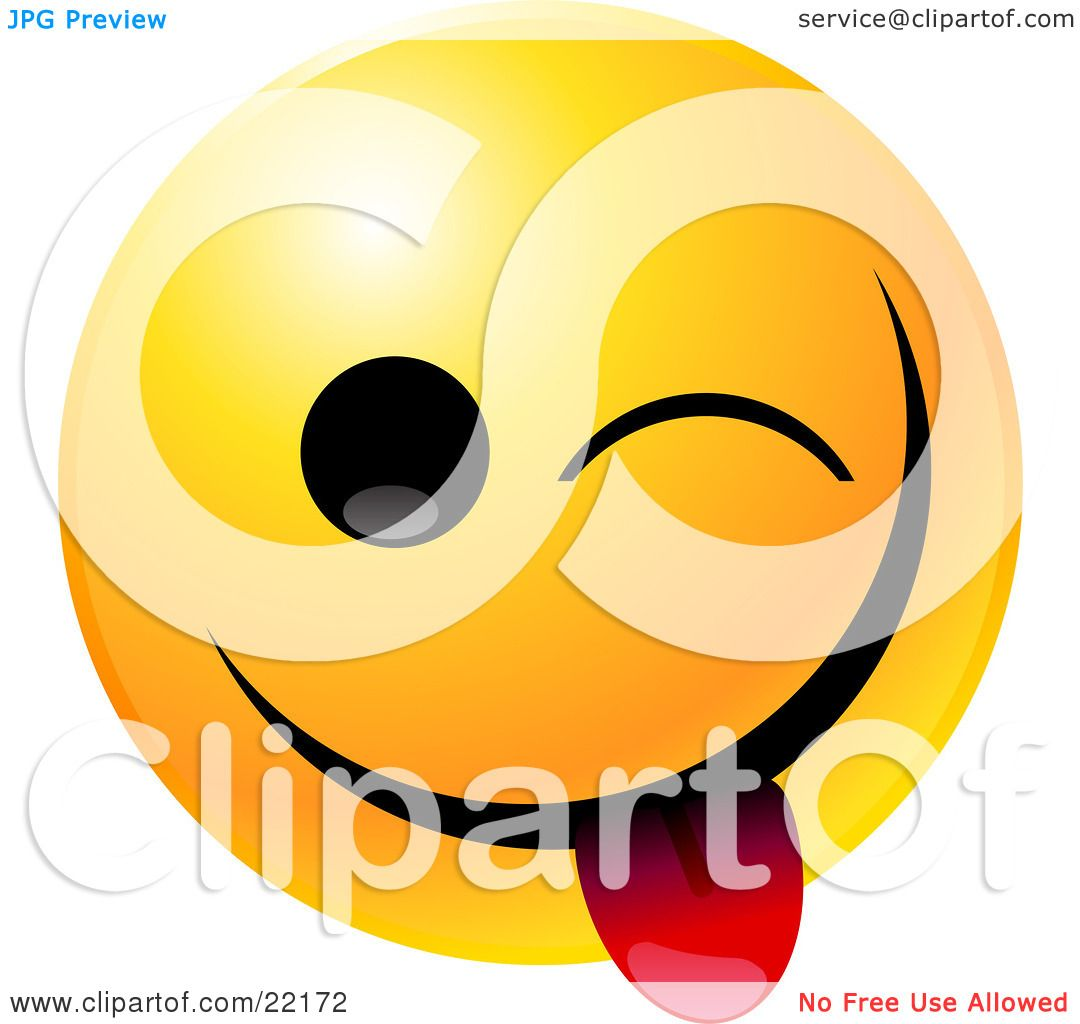 clipart illustration of a yellow emoticon face teasing winking and rh clipartof com Bite Clip Art Food in Mouth Clip Art