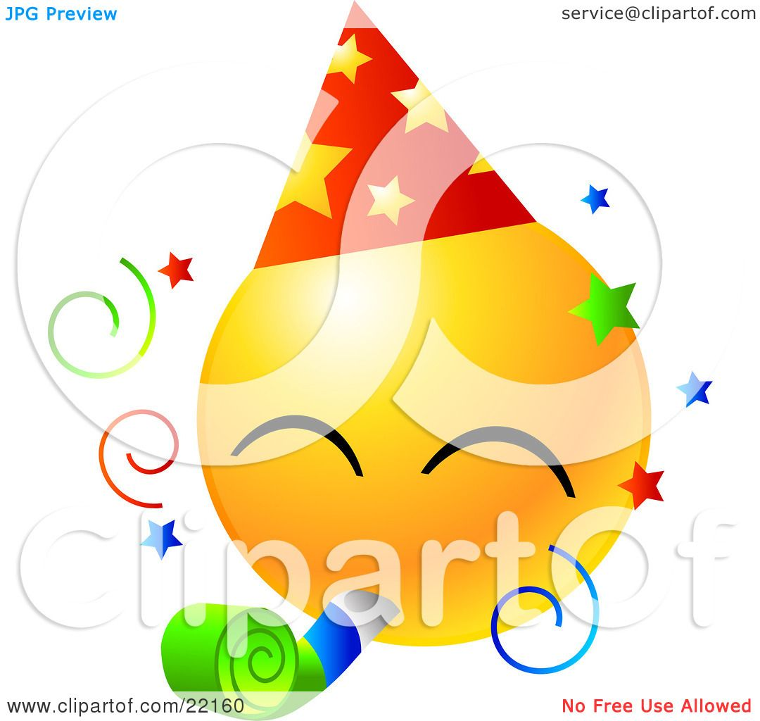 Clipart Illustration Of A Yellow Emoticon Face Wearing A Party Hat