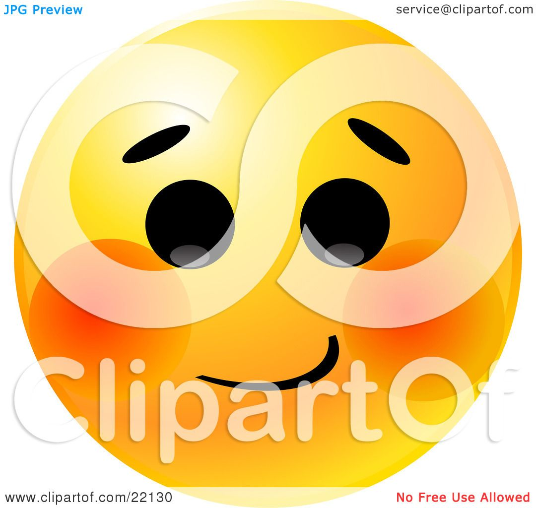 Clipart Illustration of a Yellow Emoticon Face With A Bashful ...