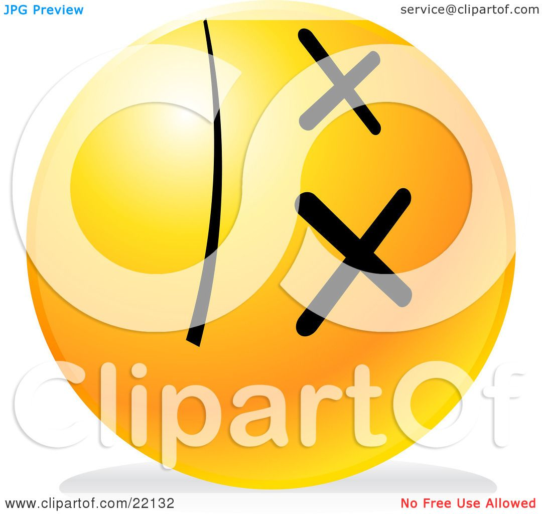 Clipart Illustration of a Yellow Emoticon Face With ...