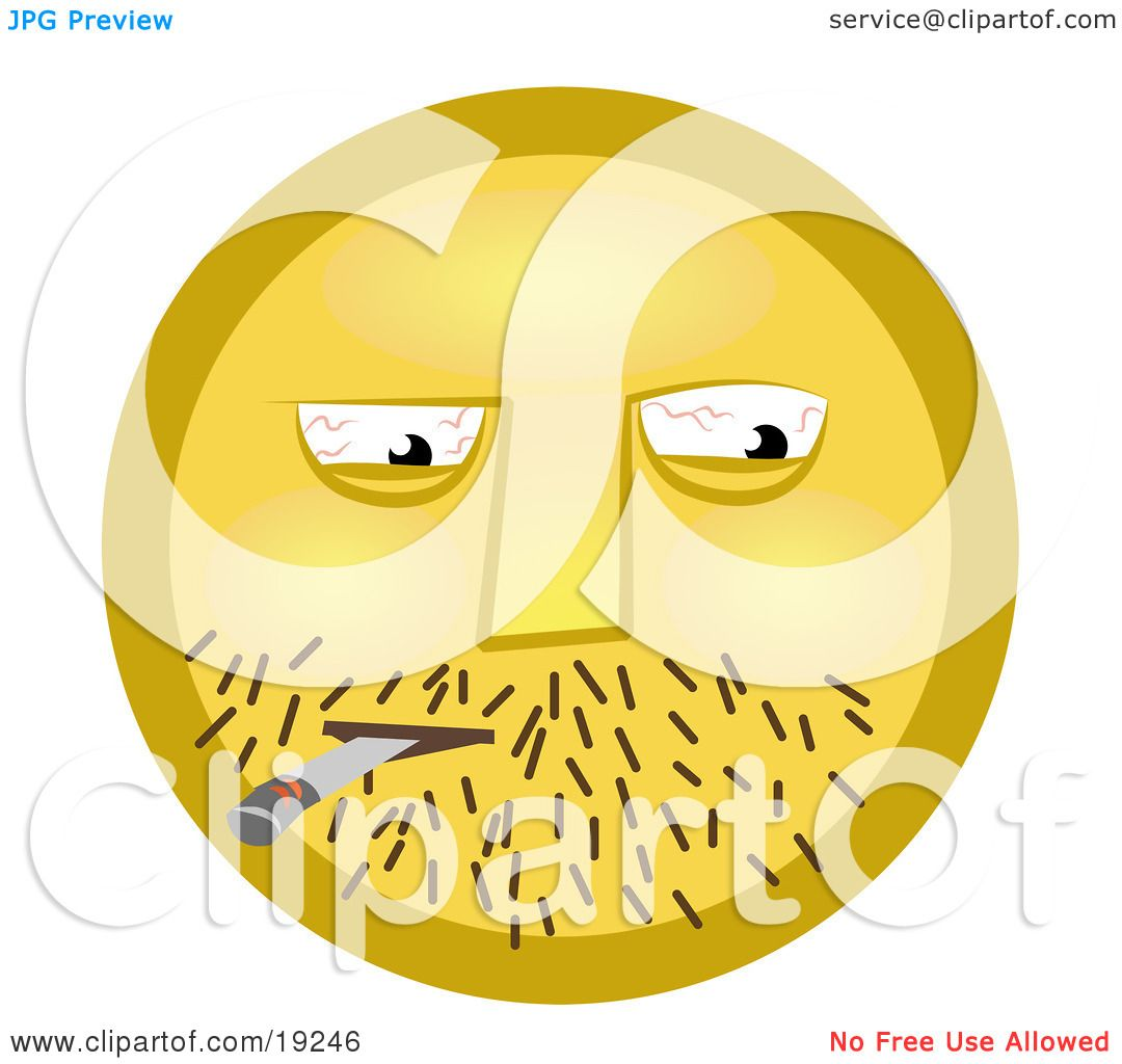 Clipart Illustration of a Yellow Smiley Face Guy With Stubble And ...
