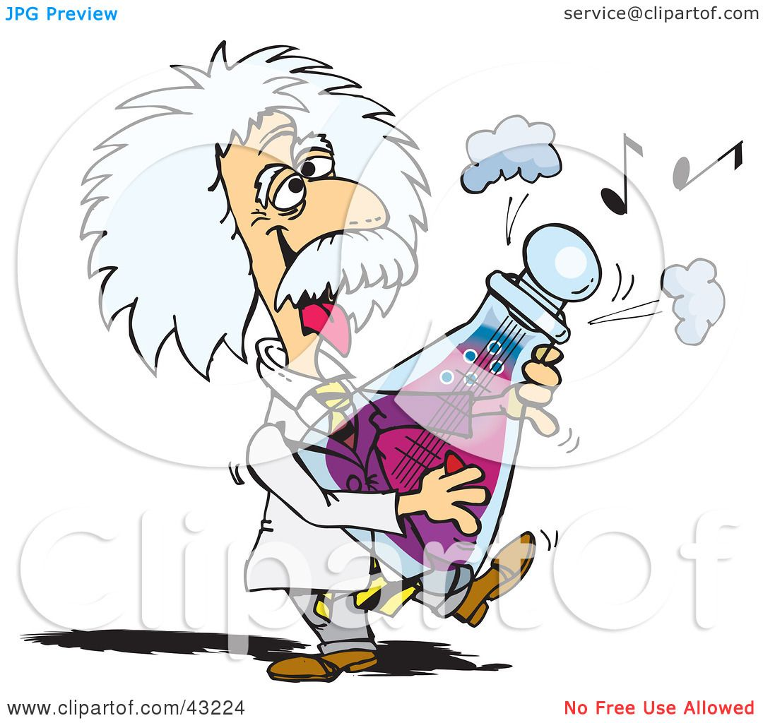 Clipart Illustration of Albert Einstein Playing A Musical Flask by ...