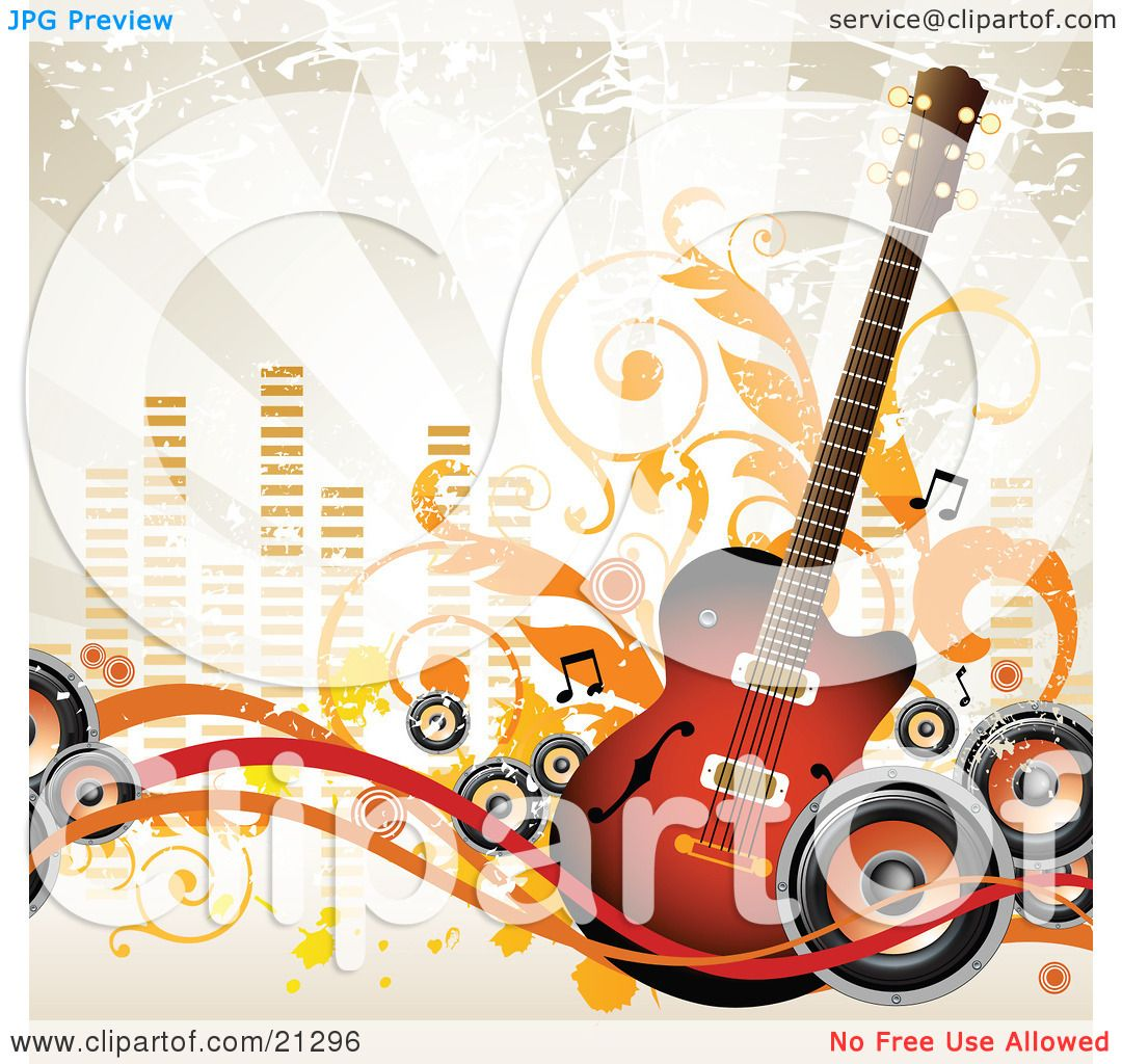 Clipart Illustration of an Acoustic Guitar With Music