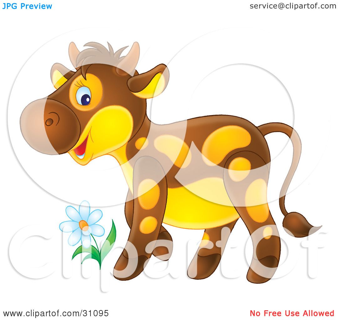 Clipart Illustration of an Adorable Brown Calf With Yellow Spots And ... for Calves Clipart  67qdu