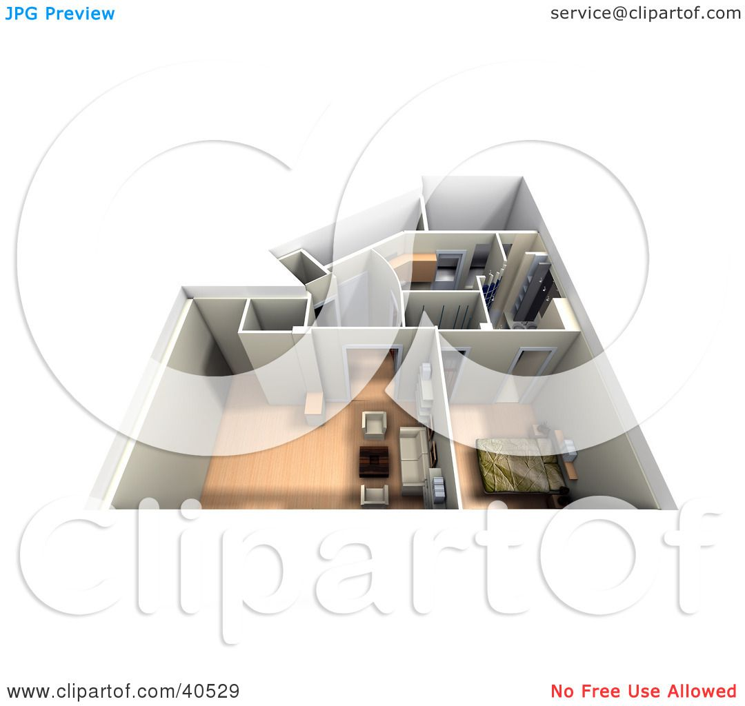 Clipart Illustration Of An Aerial View A Furnished 3d Home Interior By Frank Boston