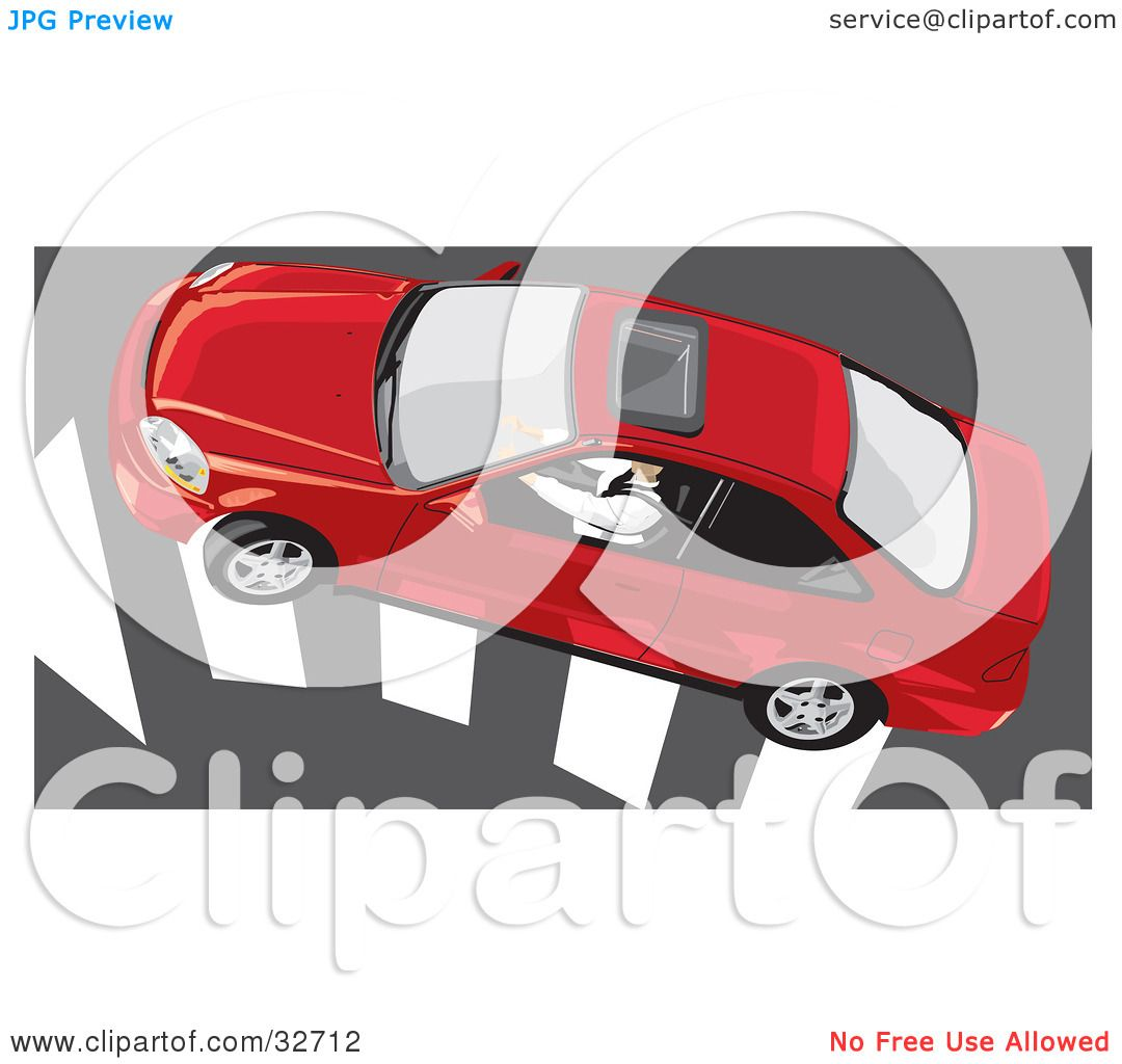 Clipart Illustration Of An Aerial View Of A Person Driving