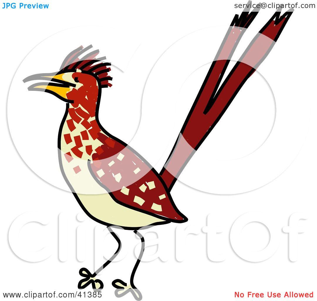 Clipart Illustration Of An Alert Brown Roadrunner Bird By