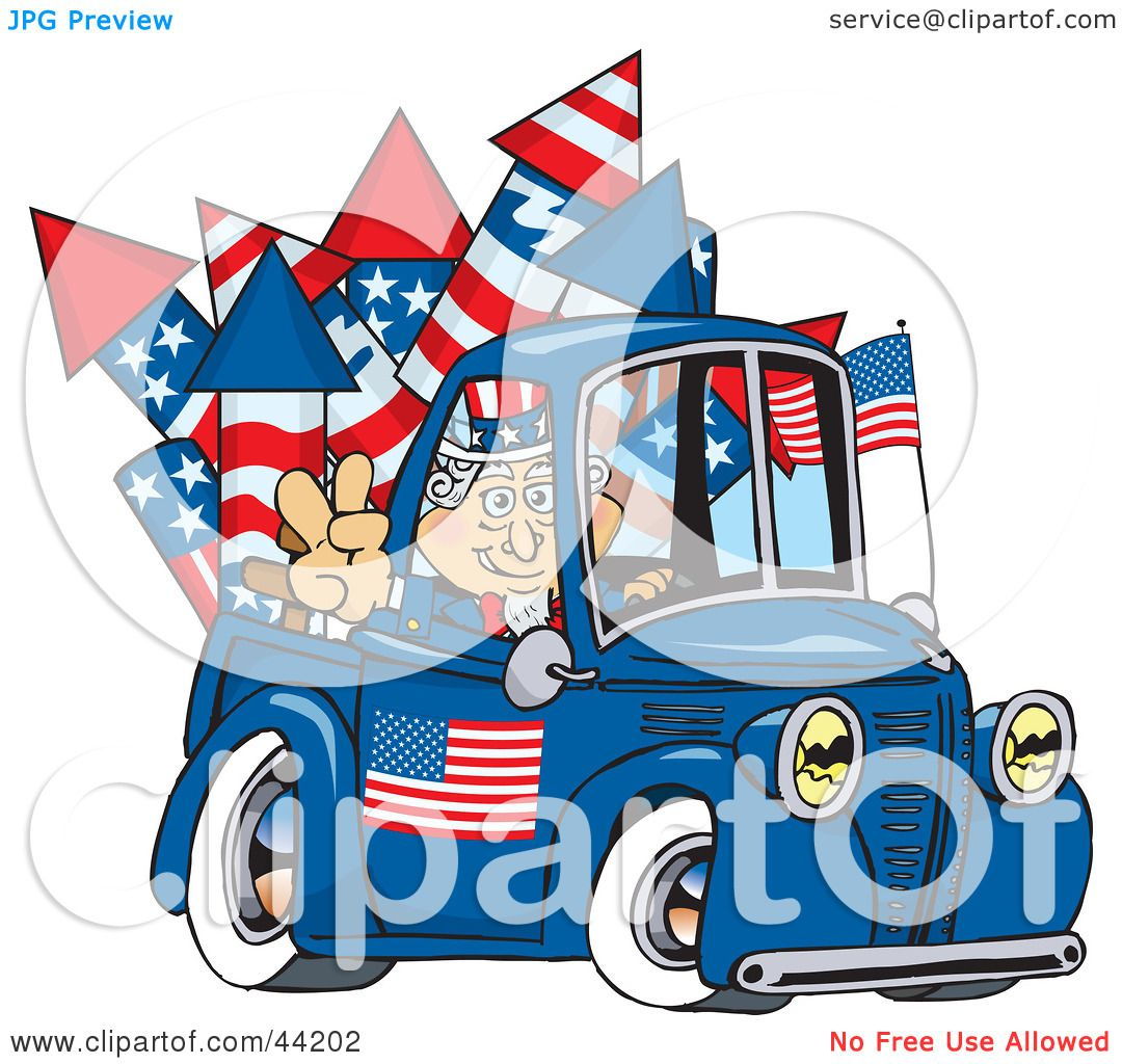 Clipart Illustration of an American Uncle Sam Driving A ...