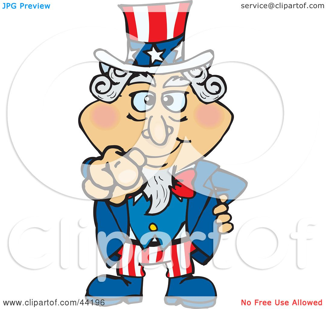 Clipart Illustration of an American Uncle Sam Pointing Out ...