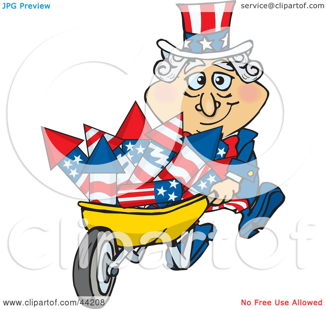 Clipart Illustration of an American Uncle Sam Pushing A ...