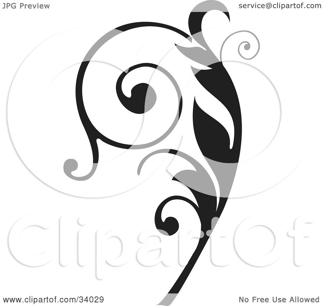 Clipart Illustration Of An Elegant Black Curly Vine Scroll