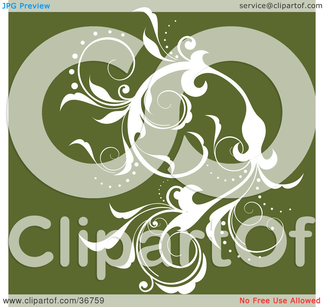 Clipart Illustration of an Elegant White Silhouetted Leafy ...