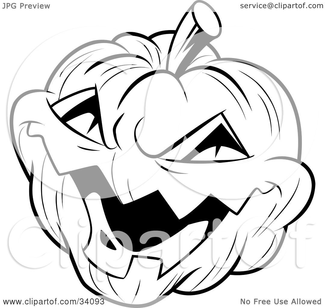 clipart illustration of an evil laughing carved halloween jack o